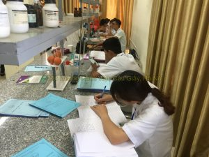 Sinh viên liên thông làm báo cáo sau giờ thực hành