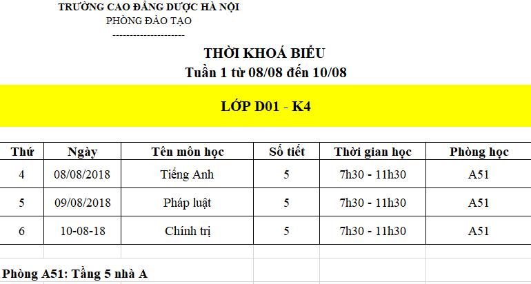 Lịch học tuần đầu tiên của lớp D01 - K4