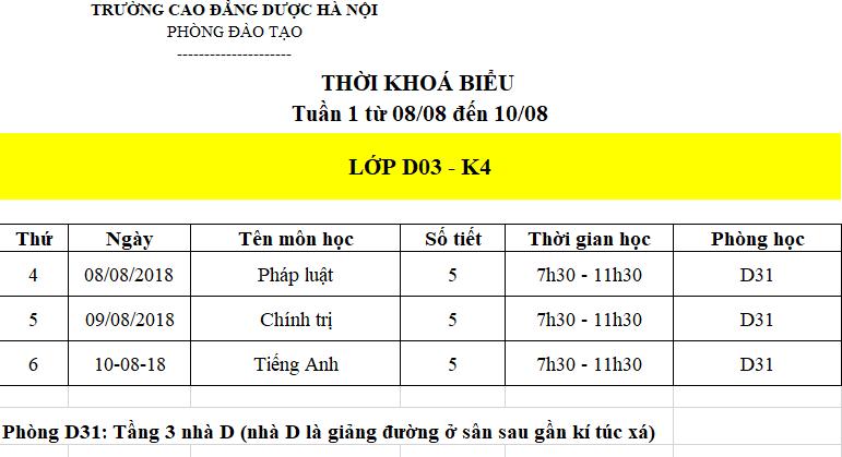 Lịch học tuần đầu tiên của lớp D03 - K4