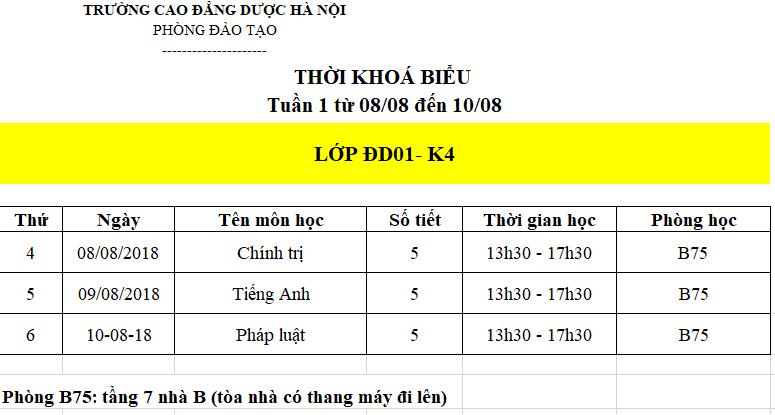 Lịch học tuần đầu tiên của lớp ĐD01 - K4: