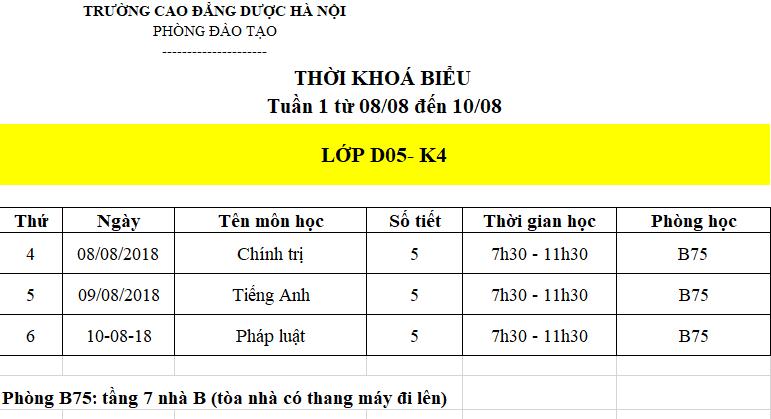 Lịch học tuần đầu tiên của lớp D05 - K4